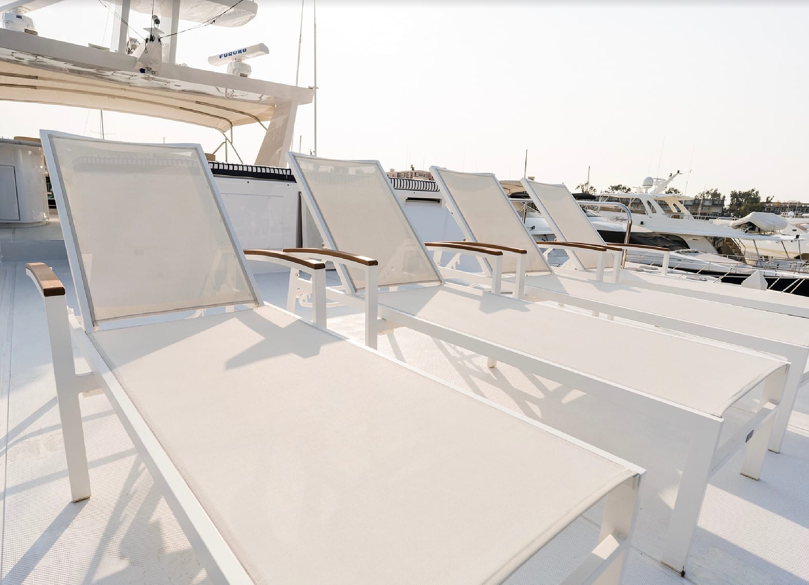106' Westship Private Yacht Charters Upper Deck Lounge Chairs