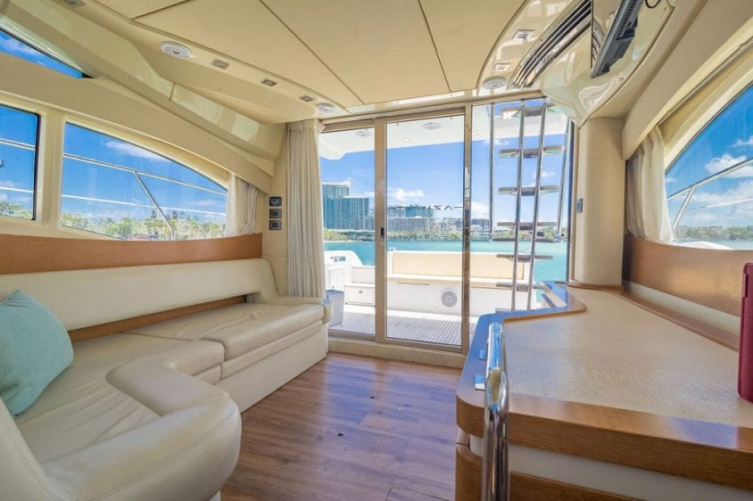42' Azimut North Miami Yacht Rentals Main Salon