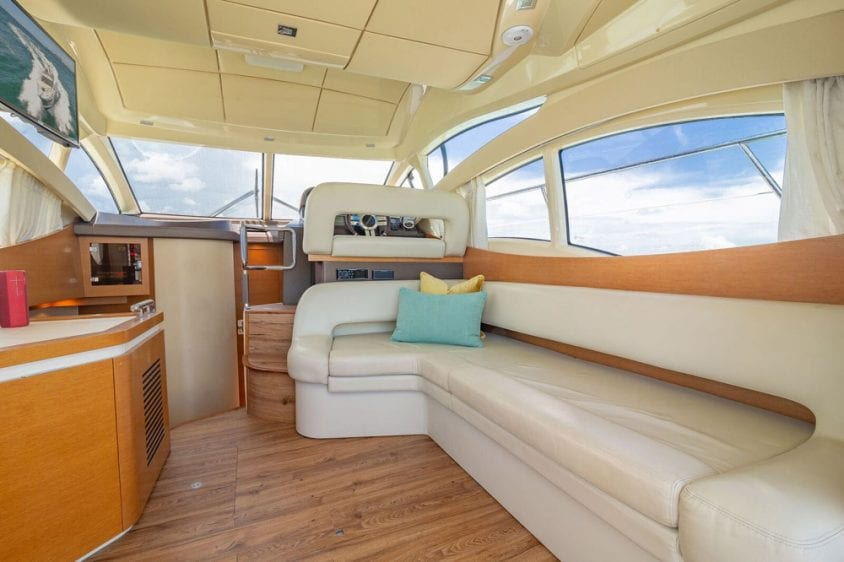 42' Azimut North Miami Yacht Rentals Salon Couch