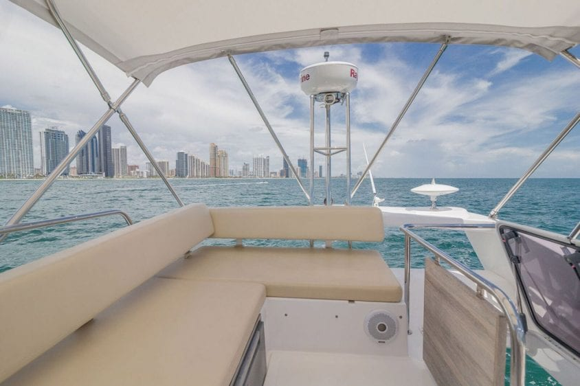 42' Azimut North Miami Yacht Rentals Upper Deck Facing Aft