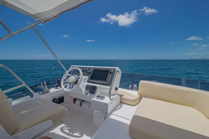 42' Azimut North Miami Yacht Rentals Upper Helm View