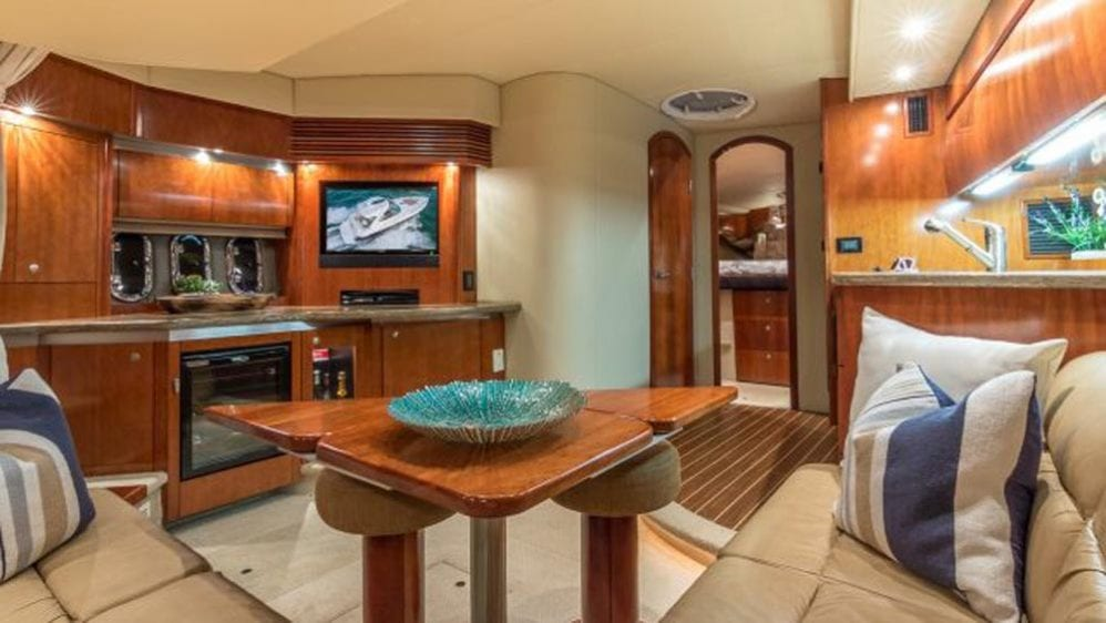 43' Cruiser Yacht Rental Miami Beach Interior Salon