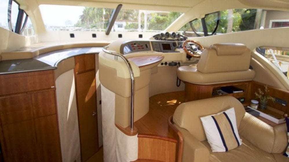 50' Azimut Flybridge Miami Yacht Charters Helm & Stateroom Access