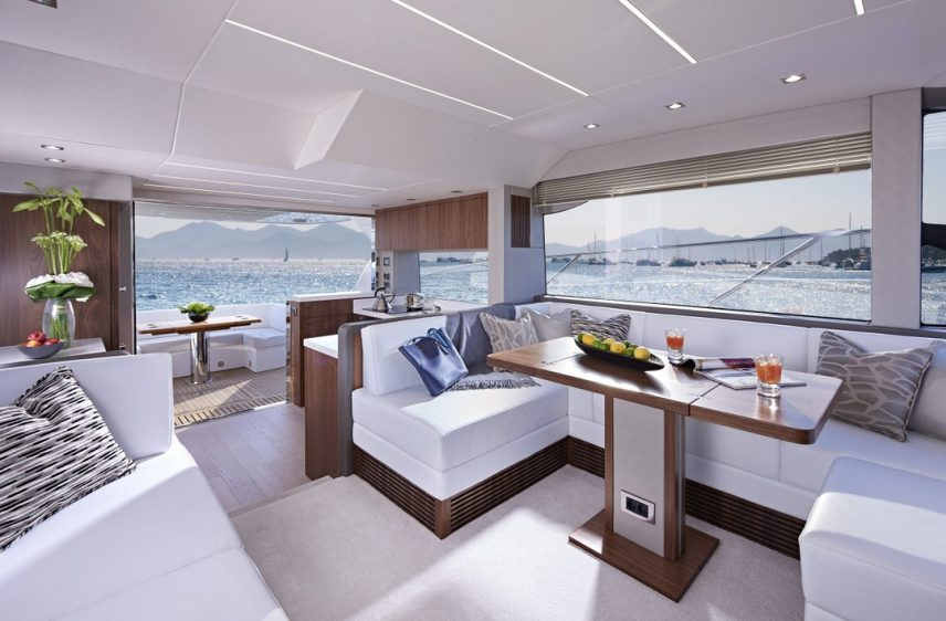 Newport Beach Luxury Yacht 52' Sunseeker Indoor Dining