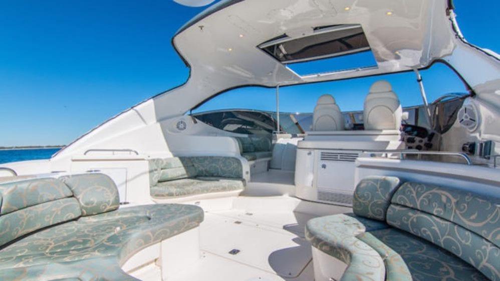 54' Cruiser Yacht Charters Miami Beach Aft Lounge