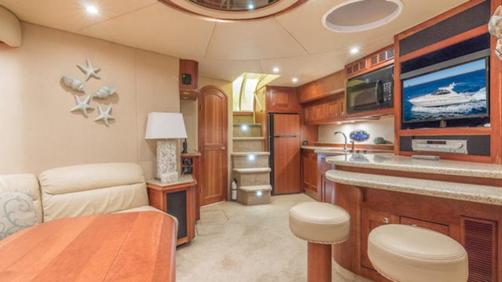 54' Cruiser Yacht Charters Miami Beach Galley and Salon