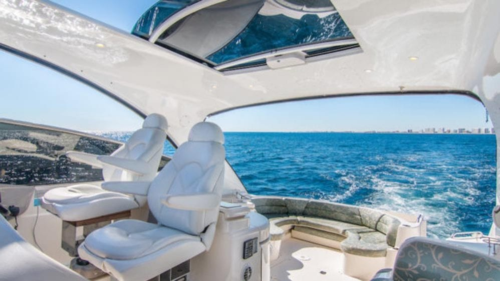 54' Cruiser Yacht Charters Miami Beach Lounge