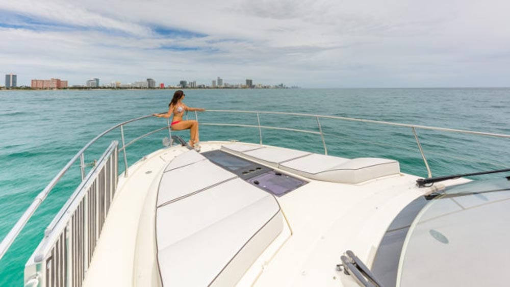 55' Monte Carlo Miami Yacht Charter Bow Pads