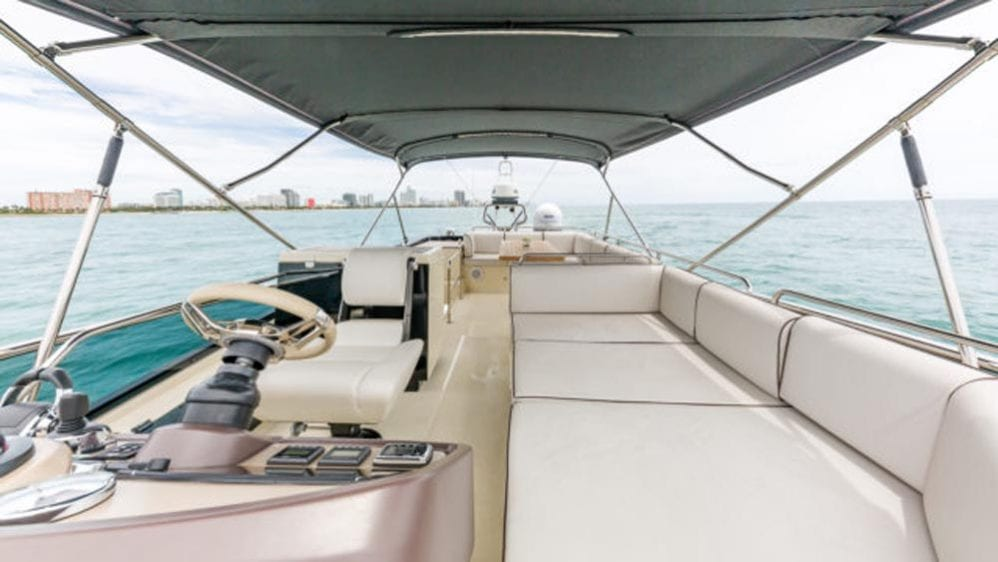 55' Monte Carlo Miami Yacht Charter Flybridge Facing Aft