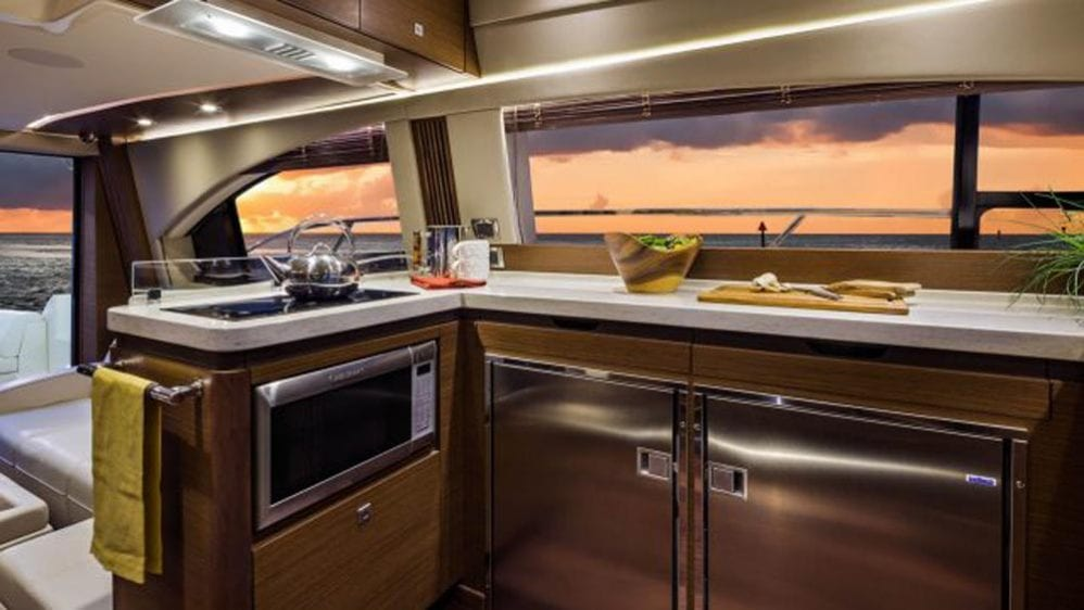 55' Sea Ray Flybridge Yacht Charter Miami Beach Galley