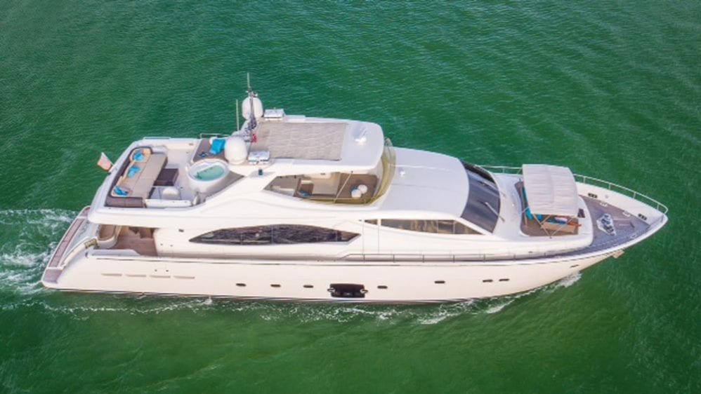 88' Ferretti Private Yacht Rental Miami Stbd Side