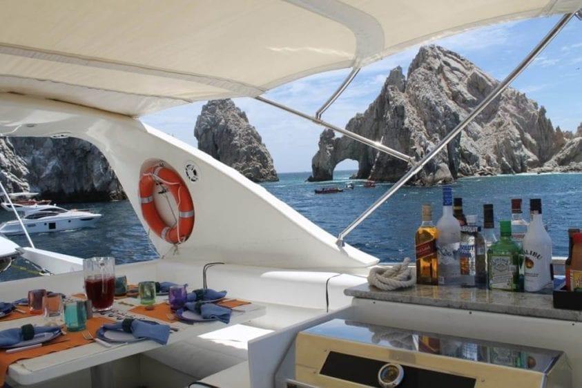 Cabo San Lucas Yacht Rental 93' Canados Upper Deck Bar