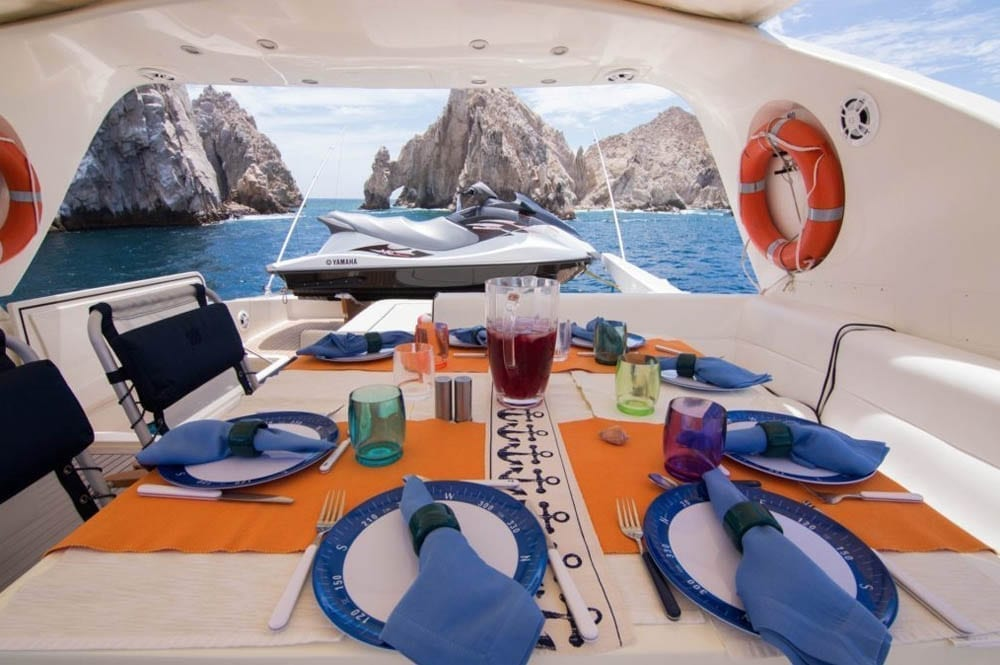 Cabo luxury yacht rental 93' Canados Upper Deck