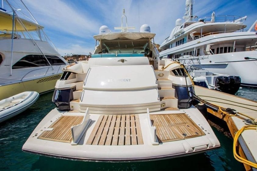 Cabo San Lucas Yacht Rentals 70' Sunseeker Stern