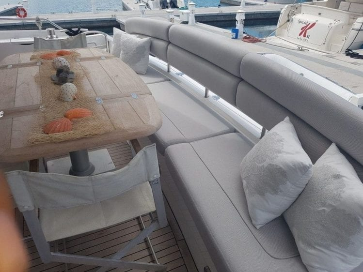 Cabo San Lucas Yacht Rentals 74' Sunseeker Aft Seating