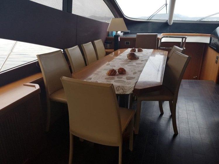 Cabo San Lucas Yacht Rentals 74' Sunseeker Interior Dining