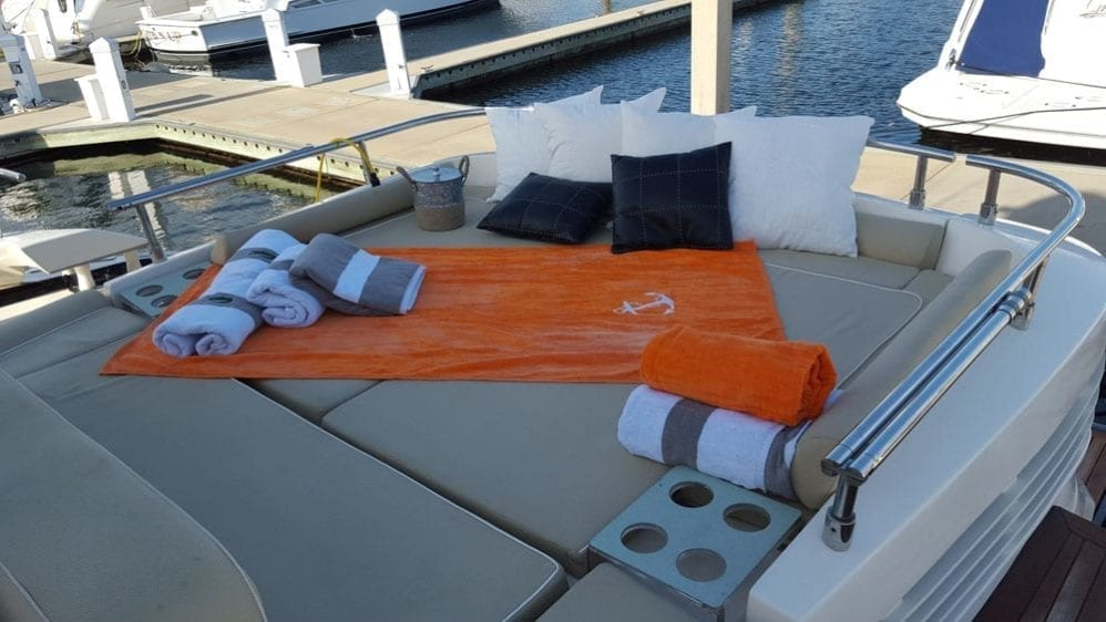 Cabo San Lucas Yacht Rentals 77' Aicon Aft Lounge
