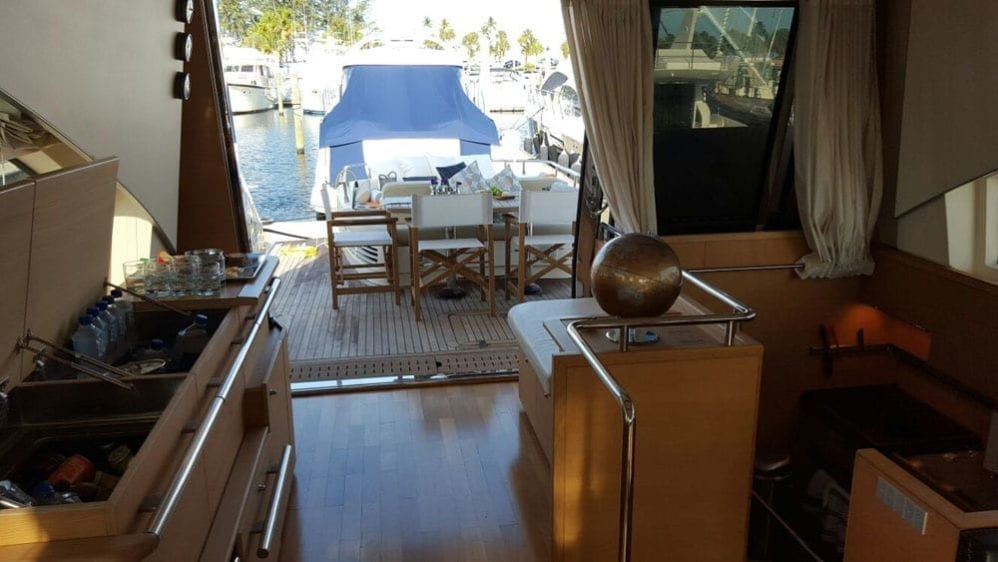 Cabo San Lucas Yacht Rentals 77' Aicon Salon looking Aft