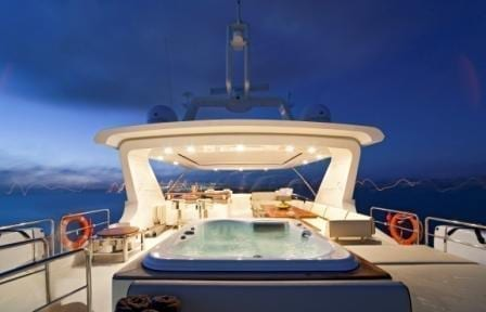 Cabo San Lucas Yacht Rentals 95' Azimut Upper Deck with Hot tub
