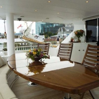 Ft. Lauderdale Yacht Rentals 114' Hargrave Aft Dining