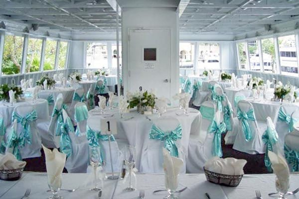 Ft. Lauderdale Yacht Rentals 120' Blount Wedding Tables