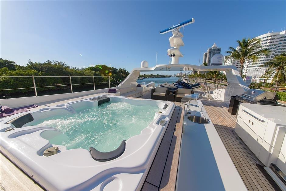 Fort Lauderdale Super Yacht Rental 127' IAG Upper Deck Hot Tub