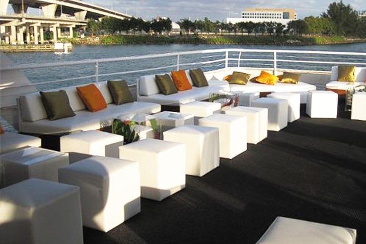 Ft. Lauderdale Yacht Rentals 130' Chesapeake Outdoor Lounge