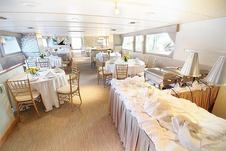 Ft. Lauderdale Yacht Rentals 137' Swiftship Wedding Tables