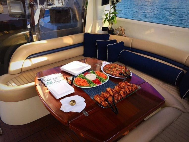 Hawaii Yacht Rentals 75' Sunseeker Aft Dining 2