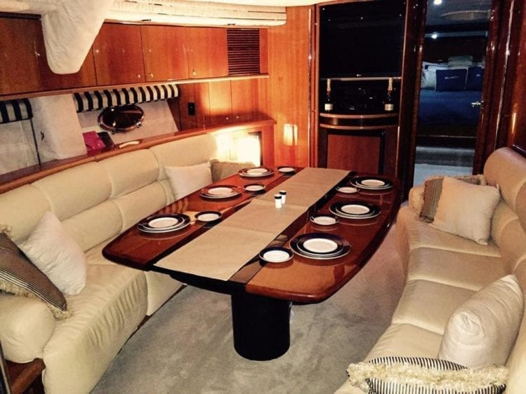 Hawaii Yacht Rentals 75' Sunseeker Interior Dining