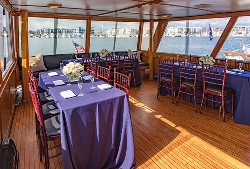 Los Angeles Yacht Rentals 57' Grebe Tables