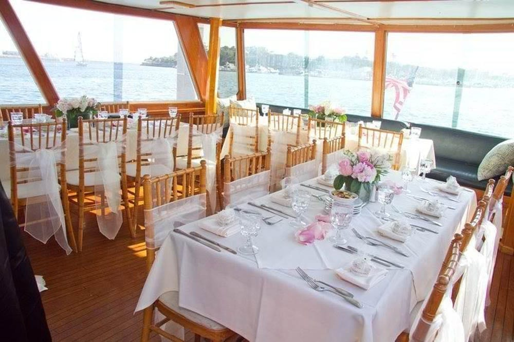 Marina del Rey party yacht rental 57' Grebe Wedding Tables