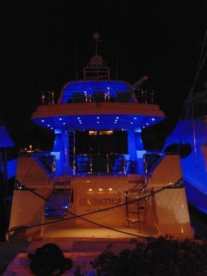 Marina Del Rey Yacht Rentals 100' Azimut Transom Night Lights