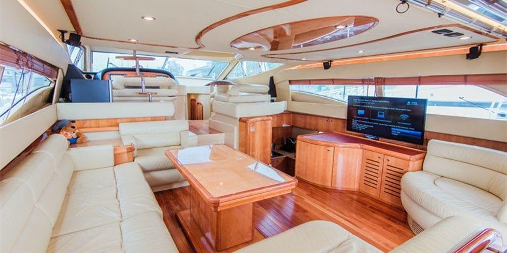 Marina del Rey Luxury yacht rental 65' Ferretti Main Salon