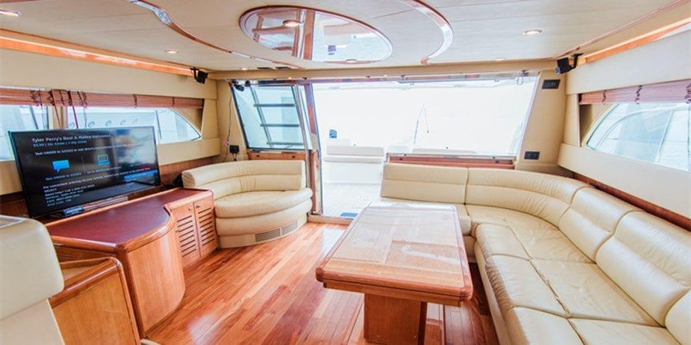 Marina del Rey Luxury yacht rental 65' Ferretti Main Salon 2
