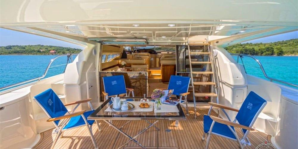 Marina del Rey Luxury yacht rental 65' Ferretti aft lounge