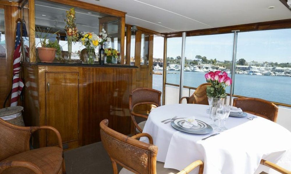 Marina del Rey Party Yacht 65' Chris Craft Aft Lounge