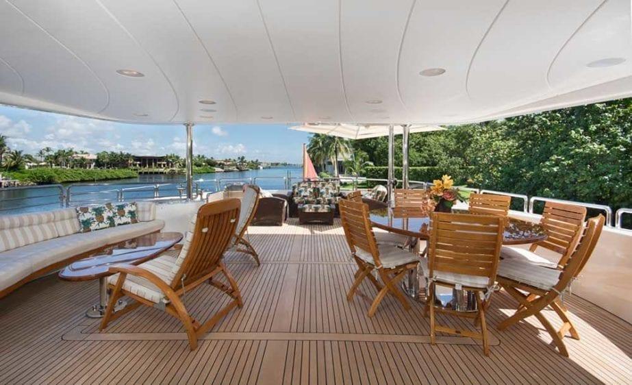 Miami Yacht Rental 116' Benetti Aft Lounge