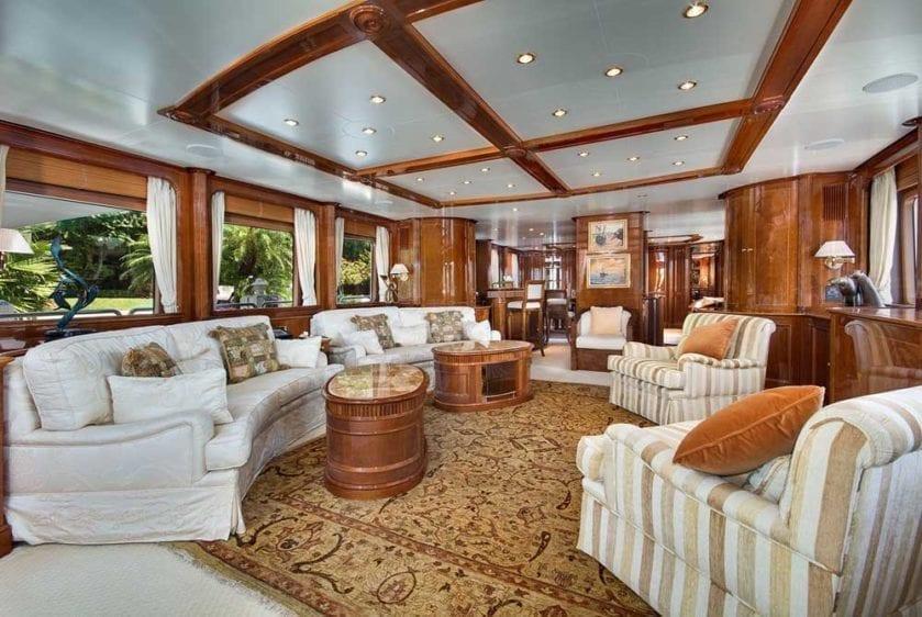Miami Yacht Rental 116' Benetti Main Lounge