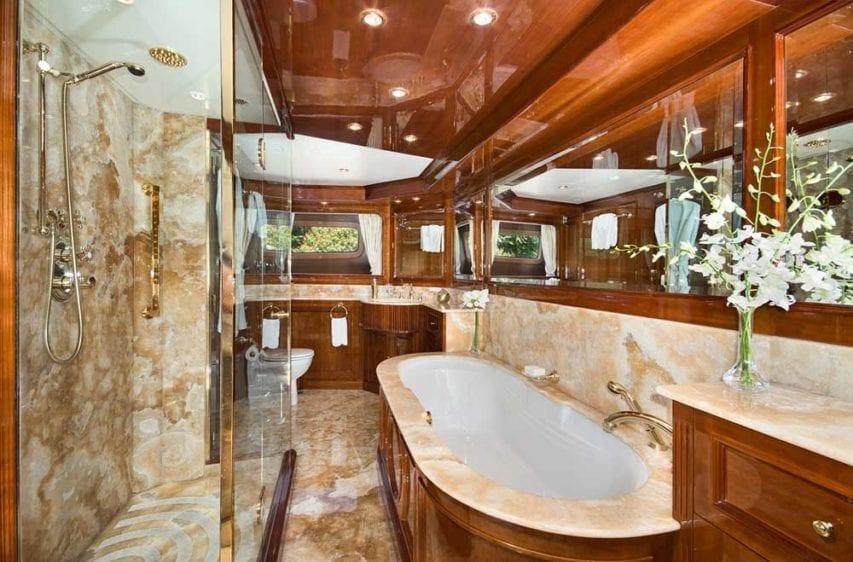 Miami Yacht Rental 116' Benetti Master Bathroom