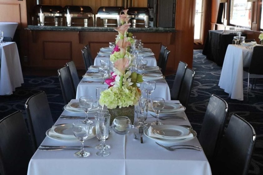 Miami Yacht Rentals 100' Skipperliner Dining Tables 2