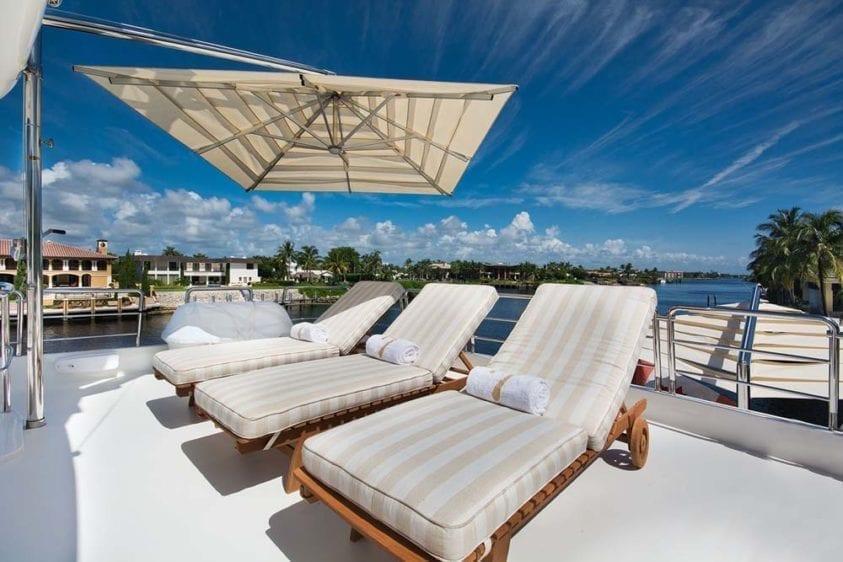 Miami Yacht Rentals 116' Benetti Upper Deck Lounge Aft