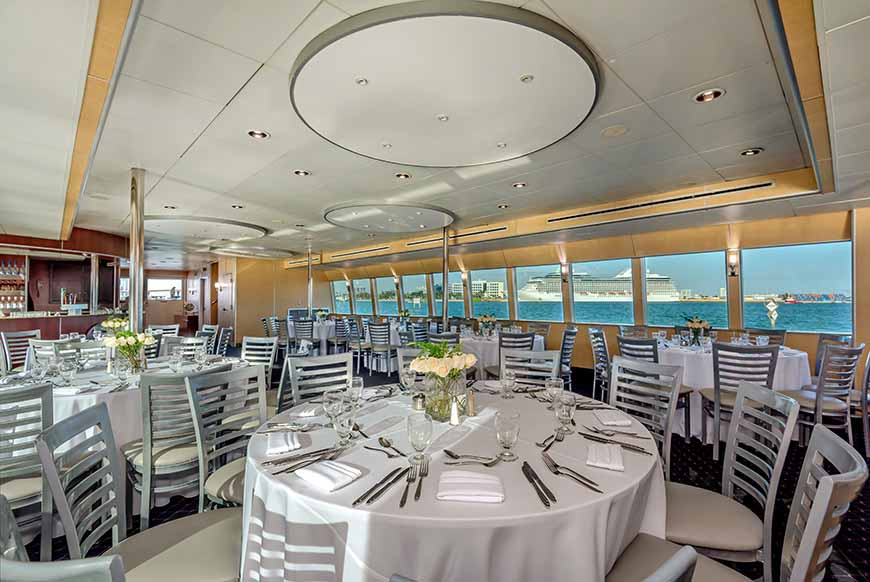 Miami party Yacht charter 130' Austral Marine Dining Tables