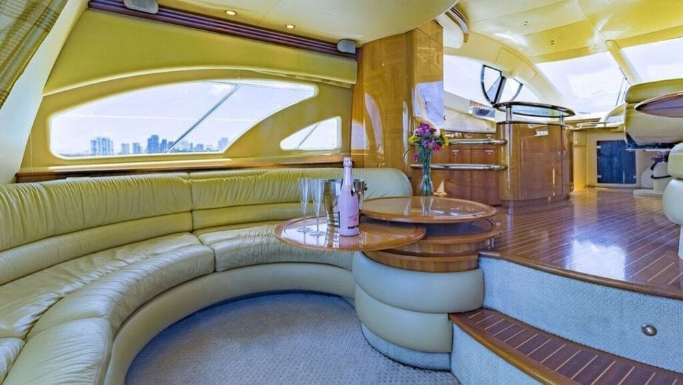 Miami Yacht Rentals 55' Azimut Salon Couch
