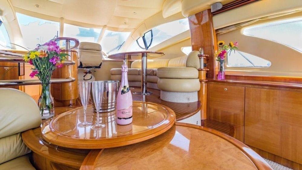 Miami Yacht Rentals 55' Azimut Salon Table