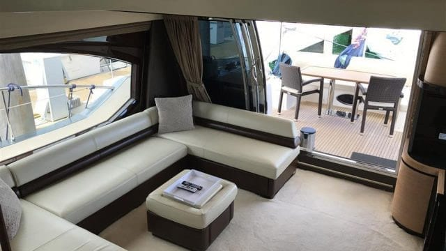 Miami Yacht Rentals 70' Azimut Salon Couch