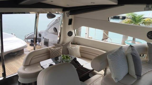 Miami Yacht Rentals 75' Predator Aft Salon
