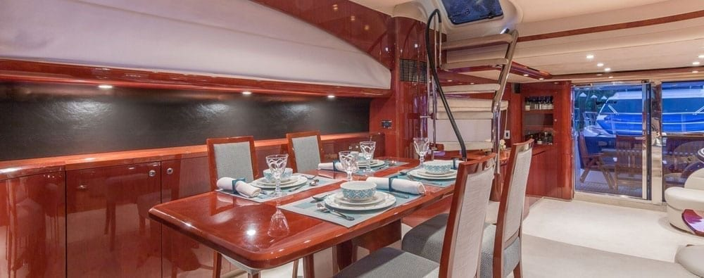 Miami Yacht Rentals 75' Viking Princess Dining