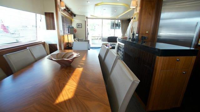 Miami Yacht Rentals 76' Sunseeker Dining