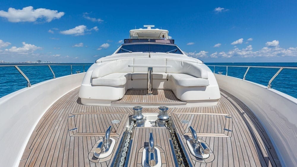 Miami Beach yacht charter 80' Ferretti Bow Seating